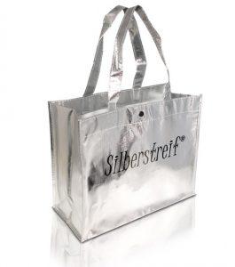 Einkaufstaschen Kunststoff mit Silberfolie beschichtet