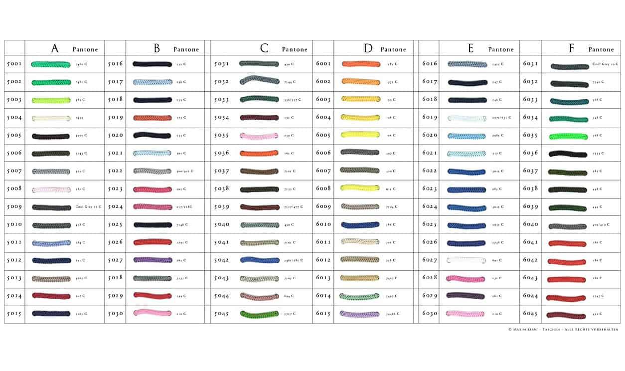 Werbetaschen Farbkarte Griffbänder
